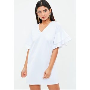Missguided V-Neck Frill Sleeve Mini Shift Dress